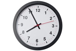 Wall clock minimal round modern style on white background isolated with clipping path