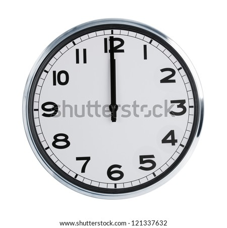 Wall clock on a white background show the twelve o'clock