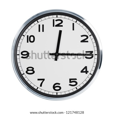 Wall clock on a white background show time