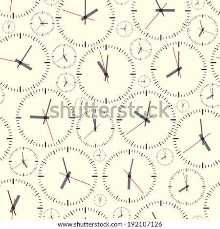 Wall clock. The electronic device. illustration. Seamless.