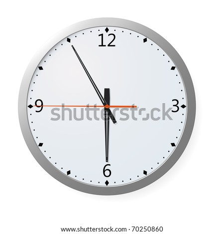 Wall clock with time symbolizing the end of the work day. Look for vector version at my portfolio.