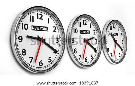 Wall clocks displaying the time of 3 cities around the world