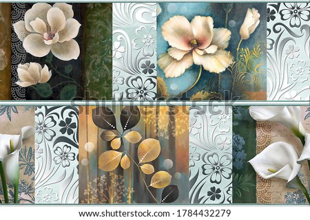 wall Decor, Digital Wall Tile Design, Wall tiles Decor on Marble For Home Decoration, 3D illustration can be used for wallpaper, linoleum, textile, web page background. - Illustration