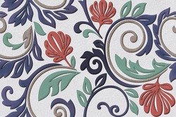 Wall Decor for interior home decoration, Ceramic Tile Design For Bathroom. it can be used for ceramic tile, wallpaper, linoleum, textile, web page background - 3D Illustration ,mandala pattern.