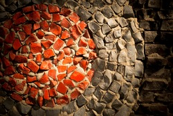 Wall decorated with  pattern of colorful mosaics.The photograph used on the edges of weak vignette, mosaic creates a beautiful pattern.It can be used as the background or texture for any photo editor.