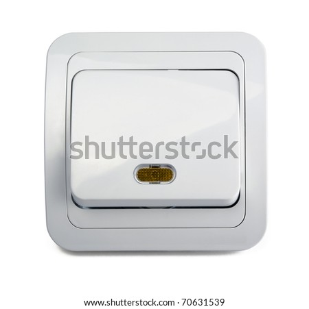 Wall electric light switch isolated on white