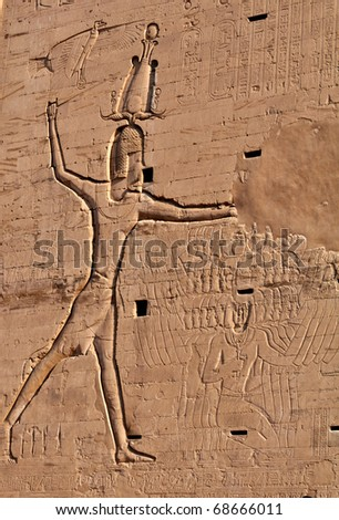 Wall fragment in the Egyptian temple
