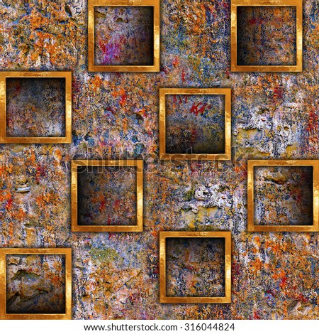 Wall Frame. Abstract Background seamless wall with relief frames.