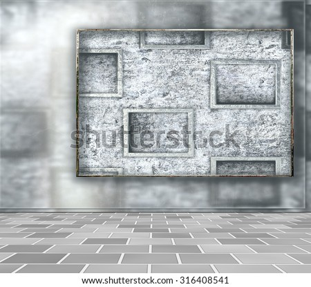 Wall frame. Abstract background wall with relief frames and tiled floor. New trend. Concept for fashion, wall, or Background for studio photography.