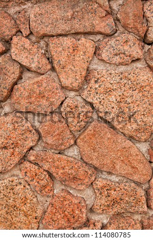 Wall from a red granite
