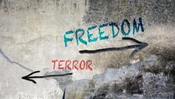 Wall Graffiti Freedom vs Terror