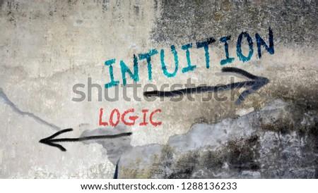 Wall Graffiti Intuition vs Logic Stock foto ©
