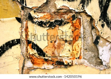 Wall grunge background with rust, paint and dirt