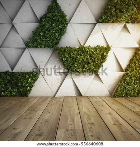 Shutterstock Wall in modern interior with concrete blocks and vertical garden. 3D illustration.