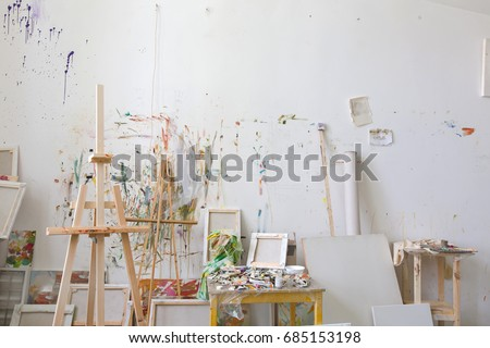 Wall in the artist's studio interior, workshop #685153198