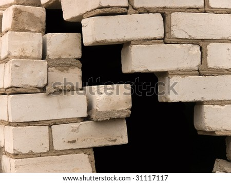 Wall in the course of destruction