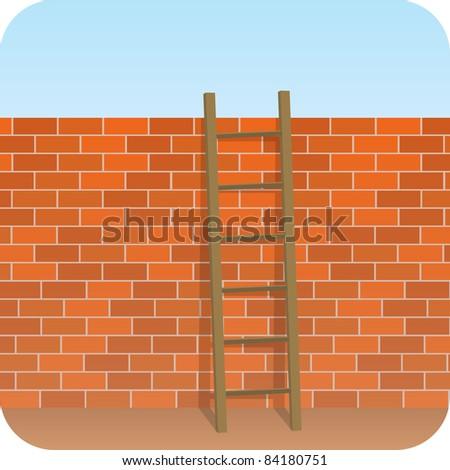 Wall - Ladder - stock photo