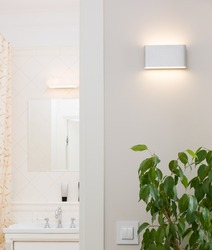 Wall lamp in a stylish bright interior. White switch and an ornamental plant