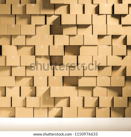 Wall made of closed cardboard boxes stacked in an empty room with a white floor. Concept of delivering goods, consumerism and overproduction. 3d rendering mock up