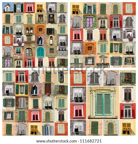 wall made of images of various windows from Italy, Europe
