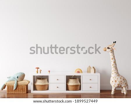 Wall mock up in kids interior. Scandinavian and boho interior. 3d rendering, 3d illustration