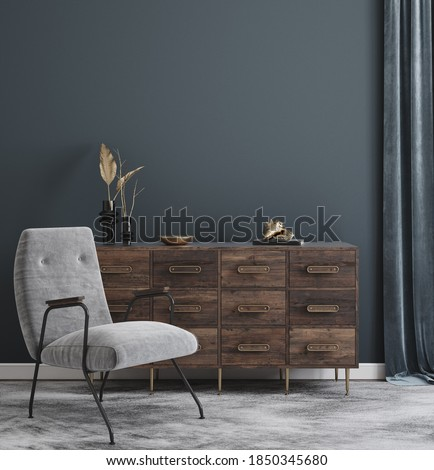 Wall mockup in modern interior background, 3d render