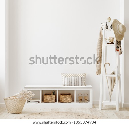 Wall mockup in white clear hallway interior, 3d render Stock photo ©