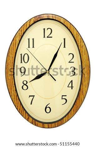Wall-mounted clock on white background