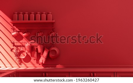 Wall mounted red kitchen dresser with everyday kitchenware inside in monochrome, single color red kitchen with countertop in warm morning sunlight. Flat color scene, 3d Rendering. 商業照片 ©
