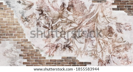 Wall mural, wallpaper design in the loft, classic and modern style. Engraving on the wall. Fresco with flowers on a brick wall. Foto stock ©