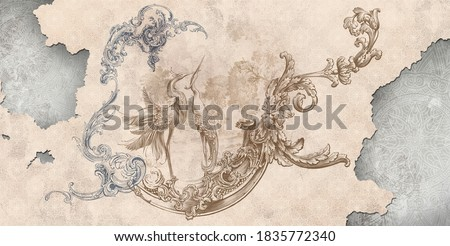 Wall mural, wallpaper, in the style of classic, baroque, modern, rococo. Wall mural with birds and patterned background. Light, delicate photo wallpaper design.