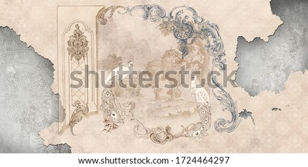 Wall mural, wallpaper, in the style of classic, baroque, modern, rococo. Wall mural with peacocks and patterned background. Light, delicate photo wallpaper design.