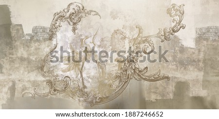 Wall mural, wallpaper, in the style of loft, classic, baroque, modern, rococo. Wall mural with graphic birds and patterns on concrete grunge background. Light, delicate photo wallpaper design.
