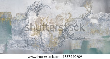 Wall mural, wallpaper, in the style of loft, classic, baroque, modern, rococo. Wall mural with graphic birds and patterns on grey concrete grunge background. Light, delicate photo wallpaper design.