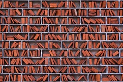 wall of a library in wimbledon, london arranged like book shelves