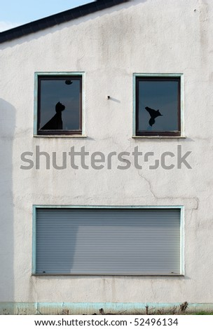 Wall of abandoned house similar to laughing or crying face