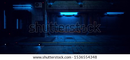Wall of an old building with gates and neon lights on a street of futuristic city. 3D illustration. Beautiful night scene in a cyberpunk style. Gloomy urban landscape.