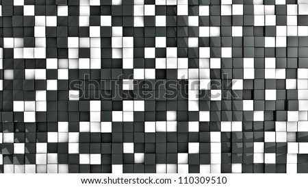 wall of black and white cubes - stock photo