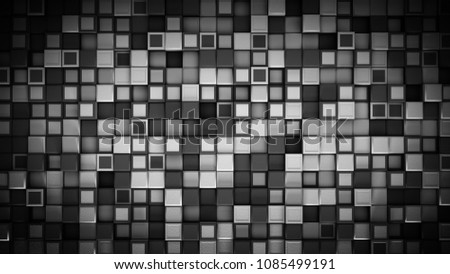 Stock Photo Wall of black and white cubes. Abstract background. 3D rendering