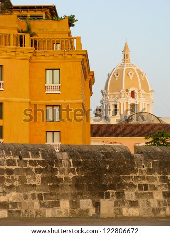 Wall of Cartagena de Indias and dome of San Pedro claver church, Colombia