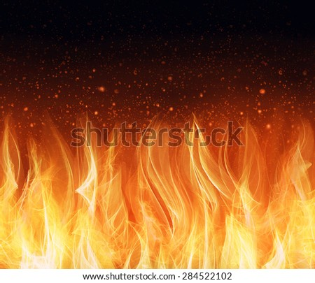Wall of Fire seamless background. Fire isolated on black background.