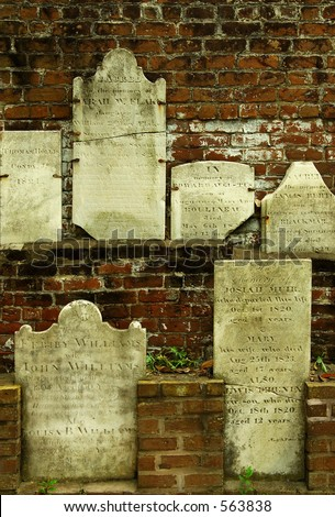 Wall of Gravestones - Desecrated during Civil War.