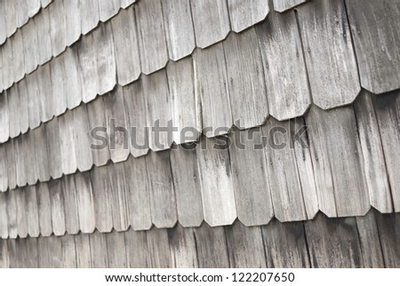 wall of larch wood shingles in Chiloe Chile