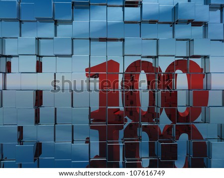 wall of metal cubes reflect number one hundred - 3d illustration