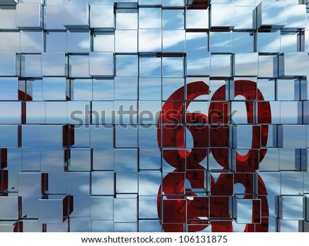 wall of metal cubes reflect number sixty - 3d illustration