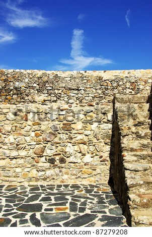Wall of portuguese castle,Marvao.