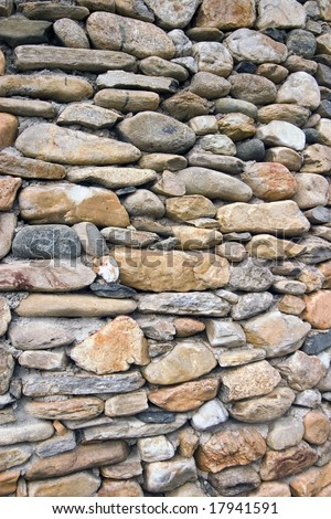 Wall of river rocks