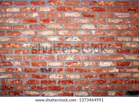wall of rustic brick, brick applied brick, brick used in construction #1373464991