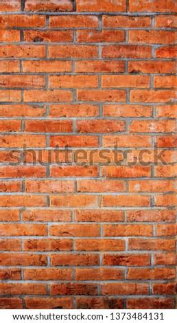 wall of rustic brick, brick applied brick, brick used in construction #1373484131