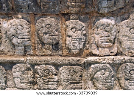 Wall Of Skulls (Tzompantli) - Maya Site Of Chichen Itza Yucatan ...